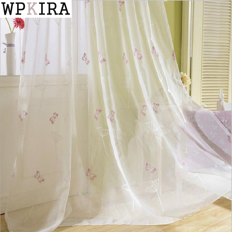 pink butterfly window sheer curtains for living room embroidered voile tulle for baby girls bedroom yarn - Window Sheers
