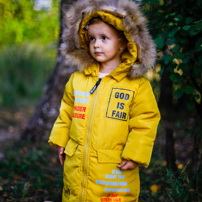 winter jacket for girls 4-13 years old girls down coats girl winter fur collar children's parkas hot CARTOON print Windbreaker цена 2017