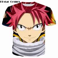 PLstar Cosmos Free shipping Classic Anime Fairy Tail 3d t-shirt handsome Natsu Dragneel Characters print Unisex casual t shirt