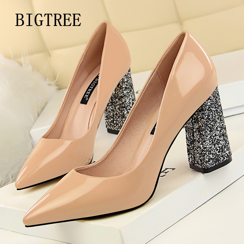 sexy high heels party pumps women shoes high heel italian euro square heel shoes woman patent leather bling shoes bigtree shoes цена