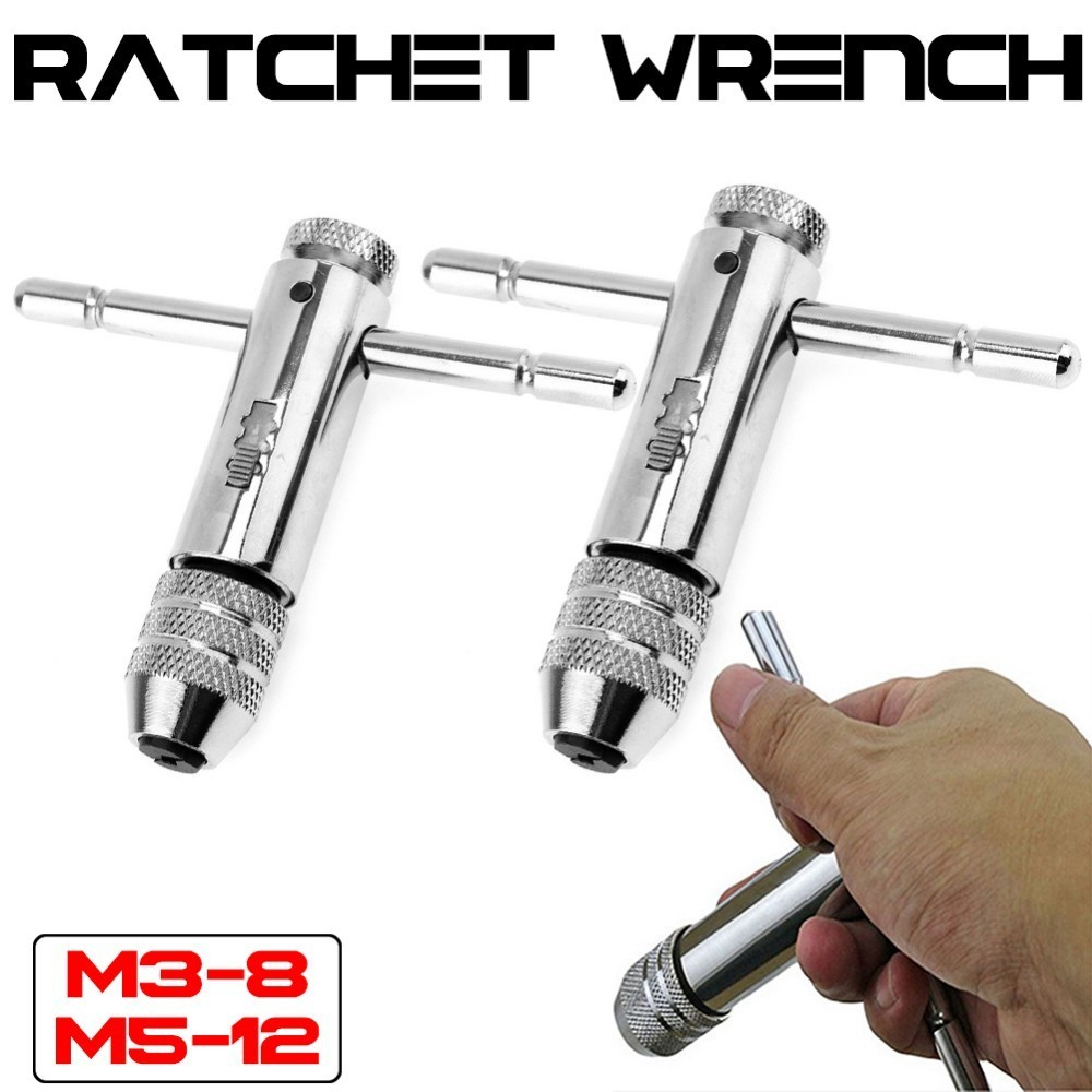 M3-8M 5-12 Die Ratchet Wrench Ratchet T Tap Wrench Holder Metric Imperial Thread Bolt Screw Tap Drill Bit pegasi snake drill bit extender extends reach up to 12 inches with ratchet tool circular screw driver heads for electrical diy
