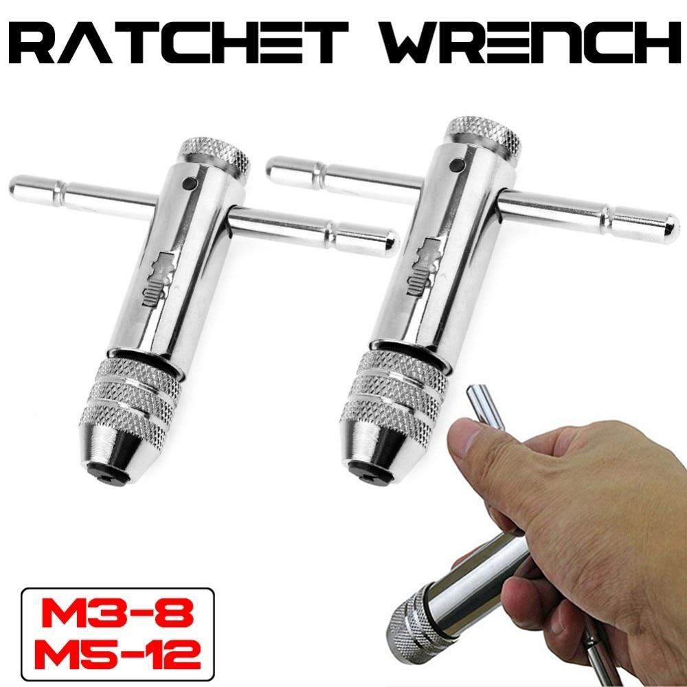 M3-8M 5-12 Llave de trinquete T Llave de trinquete soporte métrico Imperial rosca tornillo taladro broca