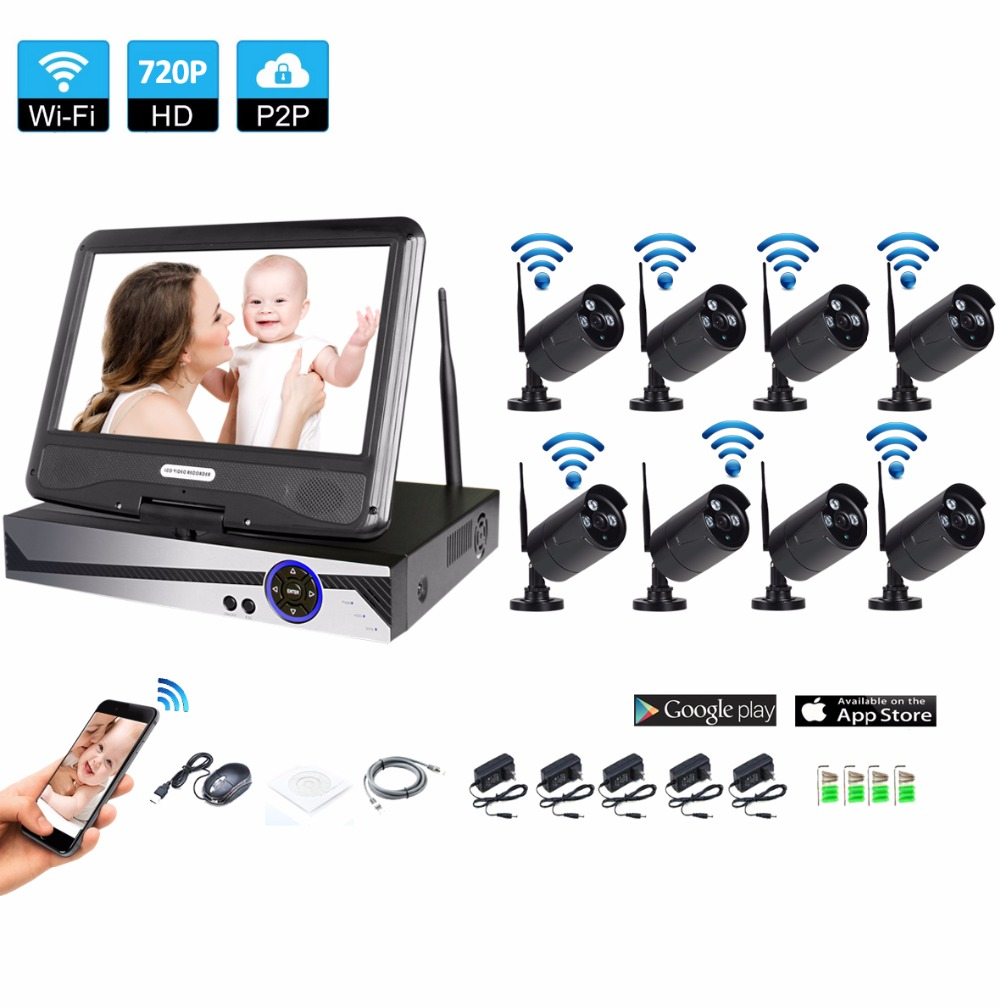 Wireless Surveillance System Network 10.1 LCD Monitor NVR Recorder Wifi Kit 8CH 720P HD Video Inputs 1.0MP Security Camera 10 lcd monitor wireless nvr with 4pcs 720p wireless camera make up wireless surveillance system easy instal and easy use