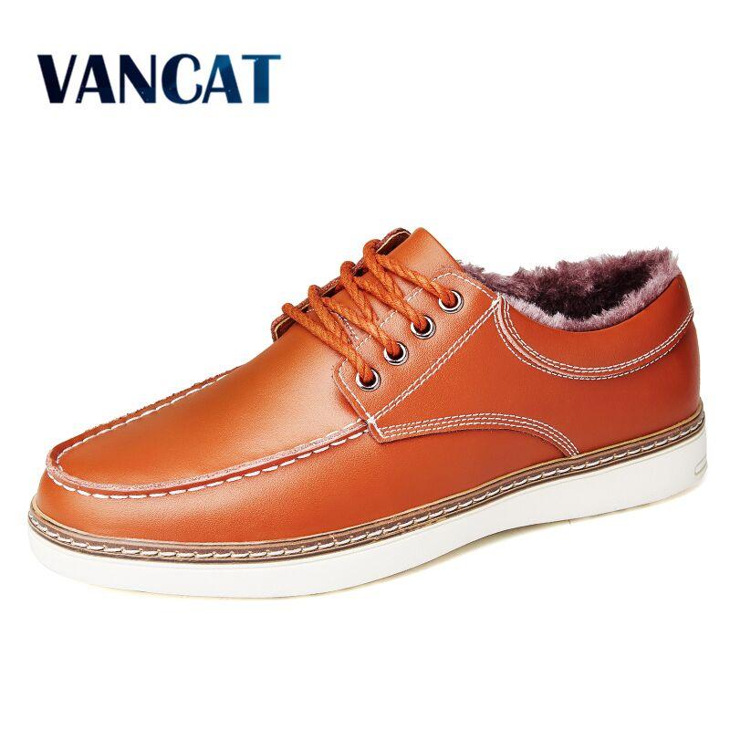 VANCAT Big Size Men's Casual Shoes Split Leather Winter Warm Krasovki Lace Up Male Boat Shoes Plush Fur Flats Sapato Masculino