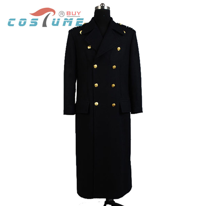 Torchwood Doctor Captain Jack Harkness Cosplay Costume  Jacket Wool Coat For Men Halloween Custom Made Dark Blue Ver.