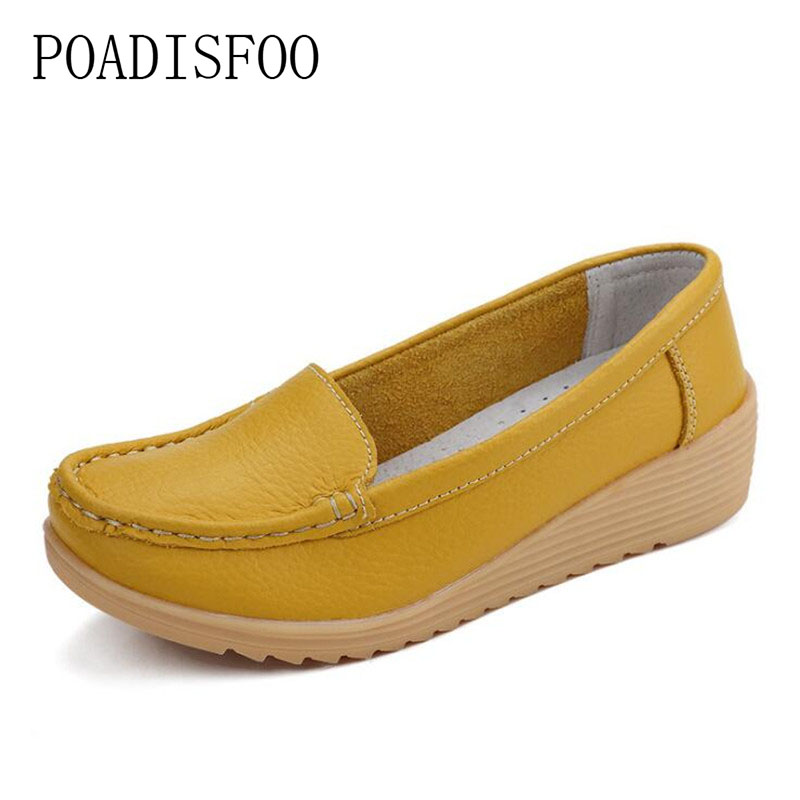 POADISFOO fashion solid color mother shoes leather Lightweight breathable casual shoes pregnant women shoes nurse shoes .CQY-987 free shipping candy color women garden shoes breathable women beach shoes hsa21