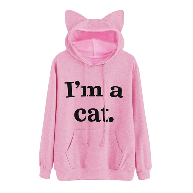 Harajuku Kawaii Cat Ear Cap Hoodies Women I AM A CAT Printed Hooded  Sweatshirts Pink Top 4fb5b5d4bfc5