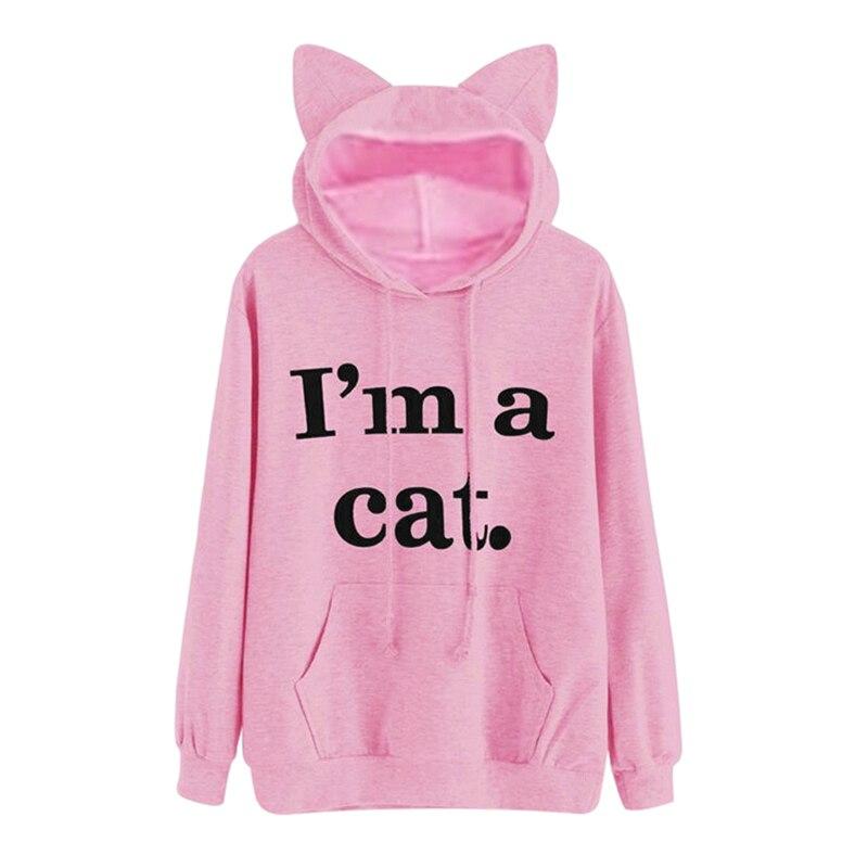 Kawaii Letter Cat Ear Cap Hoodies Women I AM A CAT Print Loose Hooded Sweatshirts 2018 Cute Long Sleeve Pullovers sudadera mujer