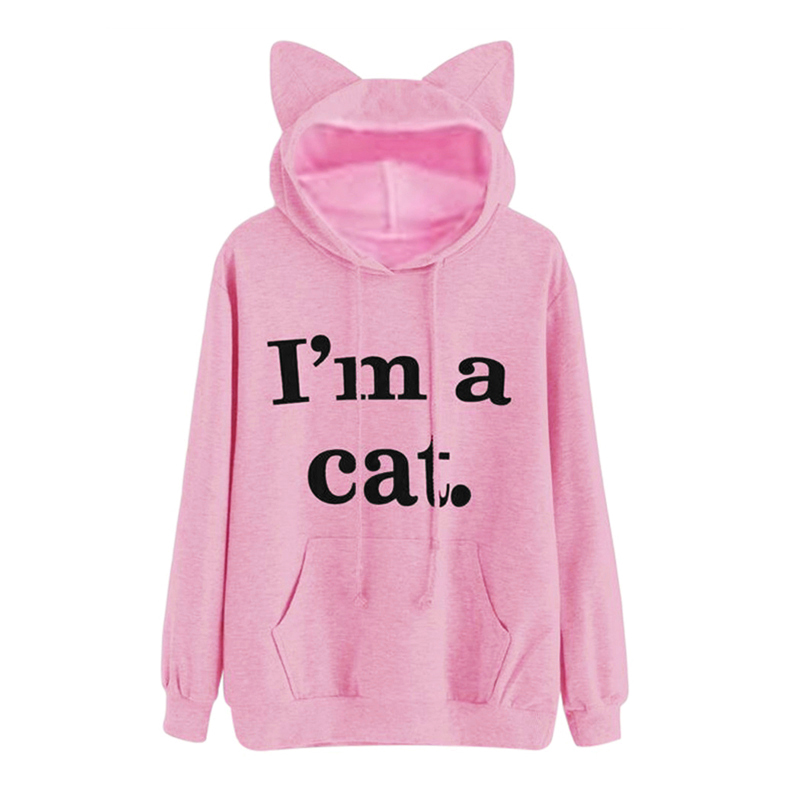 Kawaii Letter Cat Ear Cap Hoodies Women I AM A CAT Print Loose Hooded Sweatshirts 2018 Cute Long Sleeve Pullovers sudadera mujer