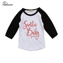 2017 Infant Kids Baby Boy Girls Long Sleeve Casual T shirt Tops Letter Print Pullover