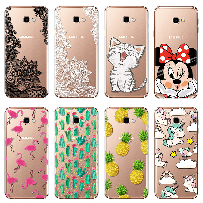 "Cartoon Flower Cat Unicorn Phone Soft TPU Cases For Samsung Galaxy J4 Plus J4Plus Case Silicon 6.0"" Case Coques Fundas Cover"