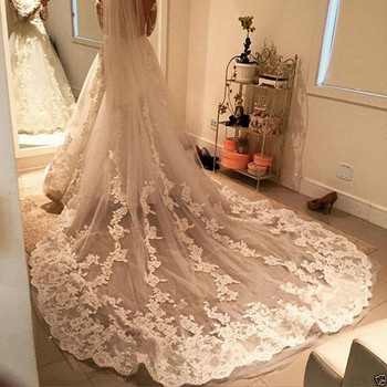 Custom Made White Ivory Long Two Layers Lace Veil Wedding Veils Long Bridal Lace Appliques Veils