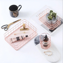 NEW Rose Golden Plated Metal Jewelry Tray Stainless Steel Snack & Stationery Plate Shining Metal Sundries Holder Fruit Tray