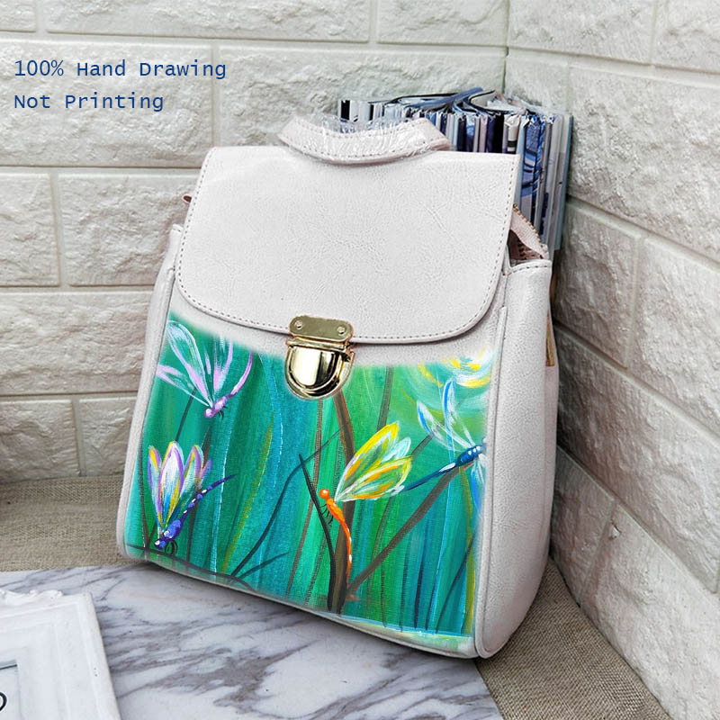 Spring Art Painting Women Genuine Leather Backpack Girls Double Shoulder Bags Designer School Backpacks For Girl Travel Totes haoqima famous brand women genuine cow leather girls backpack designer shoulder girl school bag for teenagers travel backpacks