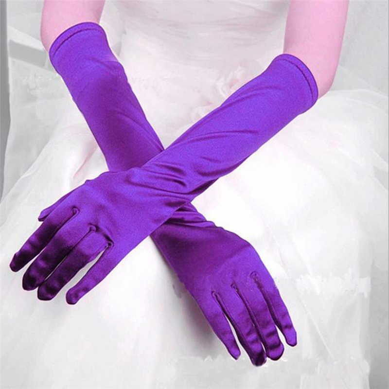 2018新しいファッション手袋レディースサテンロング手袋オペライブニングパーティーウエディング衣装手袋ベルベットhandschoenenレーザー手袋