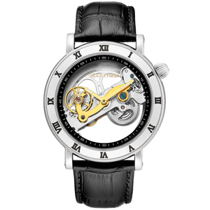 Image 2 - GEEKTHINK Fashion Top brand Skeleton Tourbillon automatic Watch Men Mechanical Skeleton Genuine Leather strap men self wind male