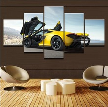 Canvas Art Painting Poster Frame Wall Picture 5 Panel McLaren P1 Yellow Sport Car For Living Room Home Decorative