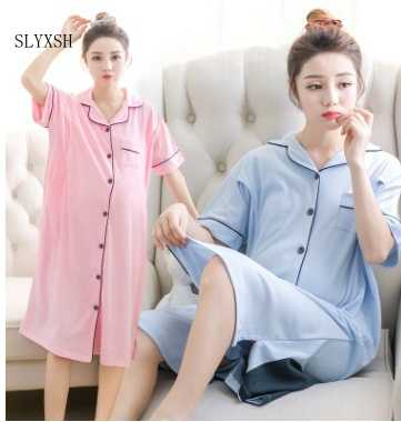 For Pregnant Women Breastfeeding Pajamas Short-Sleeved Month Home Service Nursing Clothes Cotton Maternity Dress Sleepwear