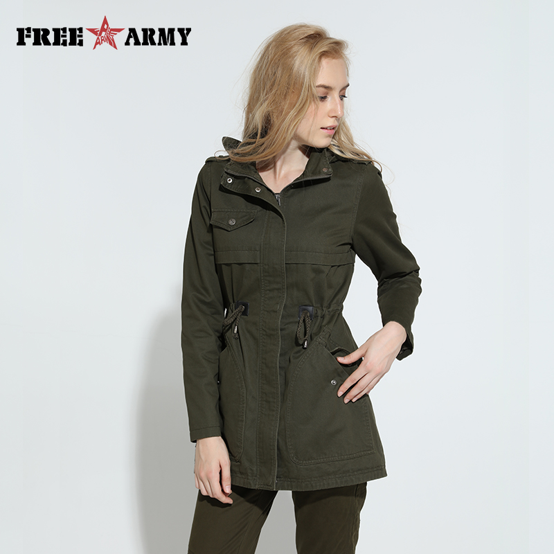 Autumn New   Trench   Coat Women Double-Breasted Turn-Down Collar Medium Long   Trench   Female Solid Cotton JacketsWoman Winter 2018