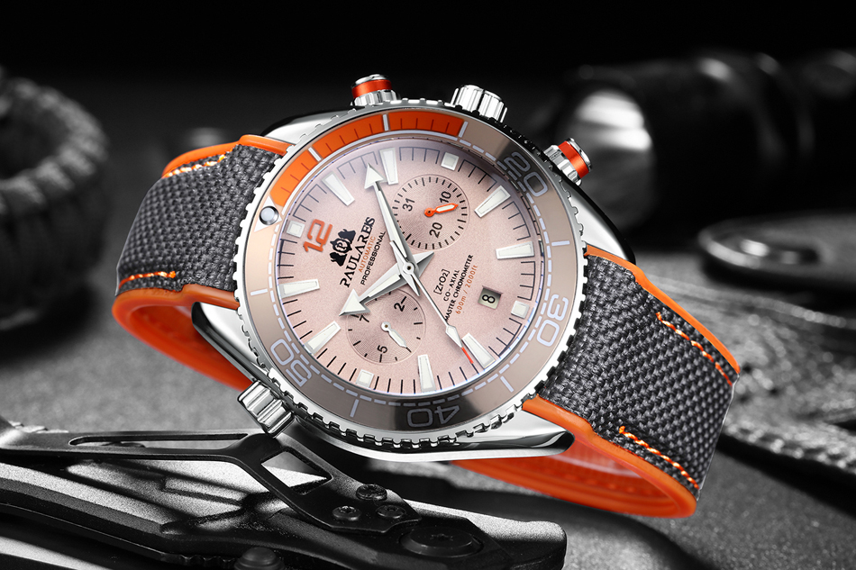 HTB1usCfdBOD3KVjSZFFq6An9pXaf Men Automatic Self Wind Mechanical Canvas Rubber James Bond 007 Style Orange Blue Multifunction Date Month Sport Watch