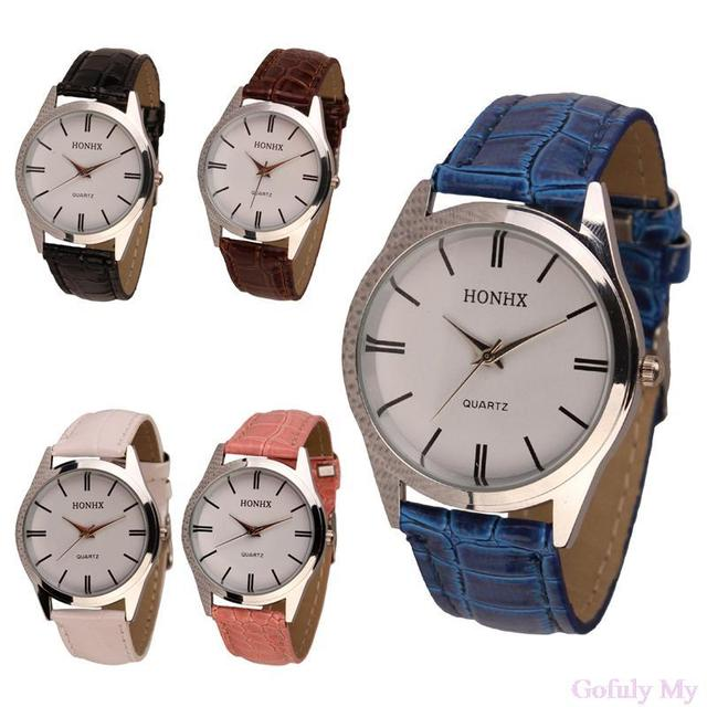 Gofuly Ladies Womens Mens PU Leather Quartz Analog Wrist Watch Drop shipping&Who