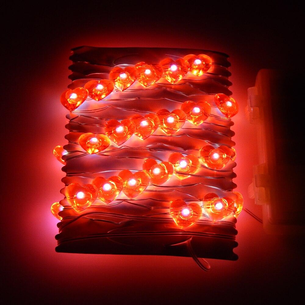 3M 40LEDs Bateri LED Lampu Rentetan berbentuk hati Lampu Bijirin - Pencahayaan perayaan - Foto 2