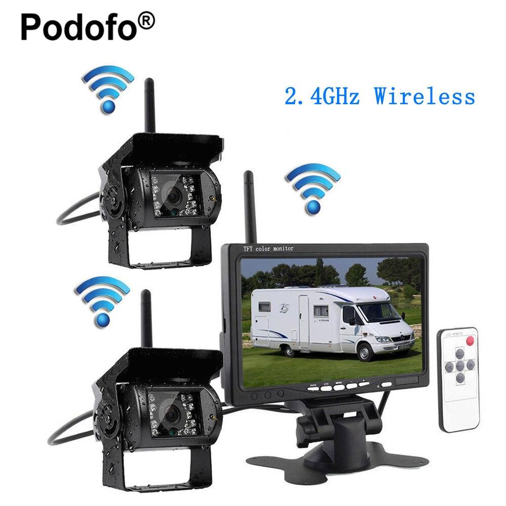 Podofo беспроводной 7 монитор автомобиля 2 резервная камера и ИК ночного видения Автомобильная камера заднего вида парковочная помощь Водозащ...