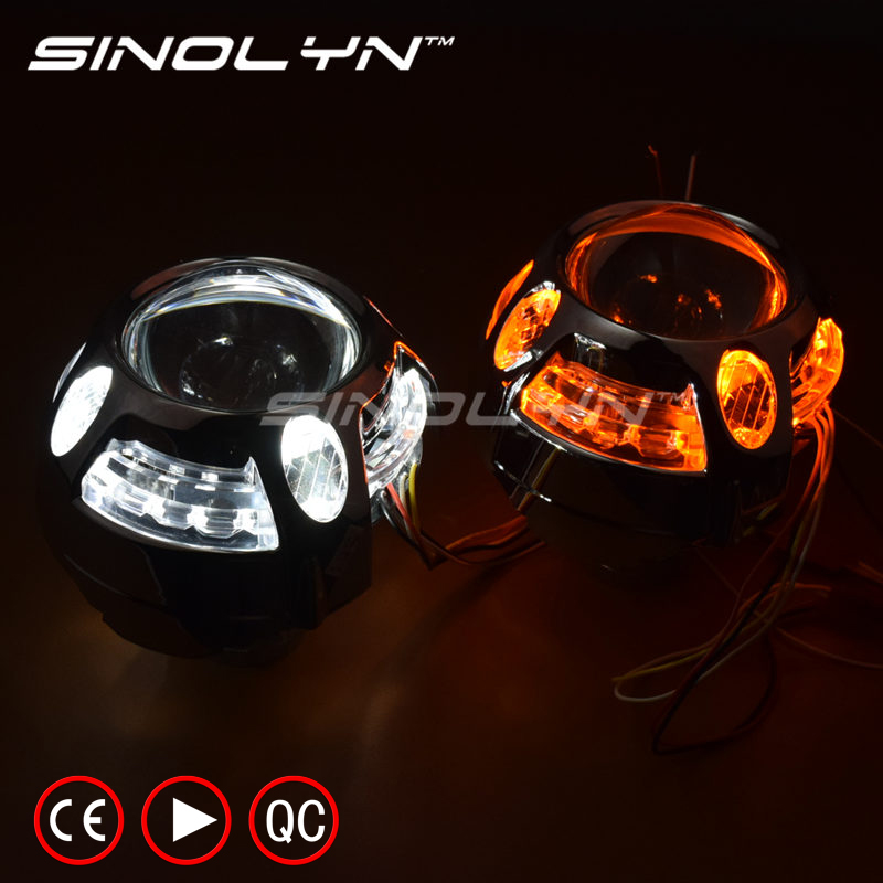 SINOLYN Q5 Metal 3.0 inch D2S D2H HID Bi xenon Projector Lens Headlight LED DRL Angel Eyes Halo W/WO Turn Signal H4 Car Styling royalin car styling hid h1 bi xenon headlight projector lens 3 0 inch full metal w 360 devil eyes red blue for h4 h7 auto light