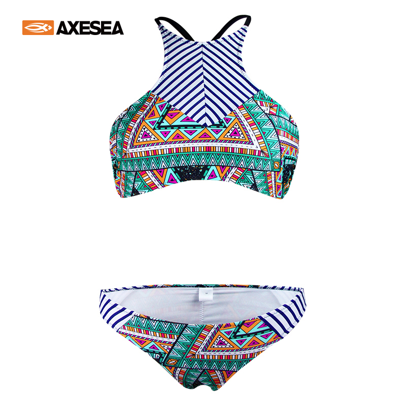 Bikini-set Gewissenhaft Axesea Sexy Halter Bikini Set Frauen Badeanzug Crop Top Bademode Low Taille Brasilianische Bademode Mädchen Drucken Zwei Stück Badeanzüge Schwimmen