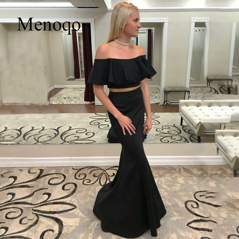 Off the Shoulder Long   Prom     Dresses   Two Pieces Open Back Mermaid Black Sweep Train Evening Formal Party   Dress   Vestido De Fiesta