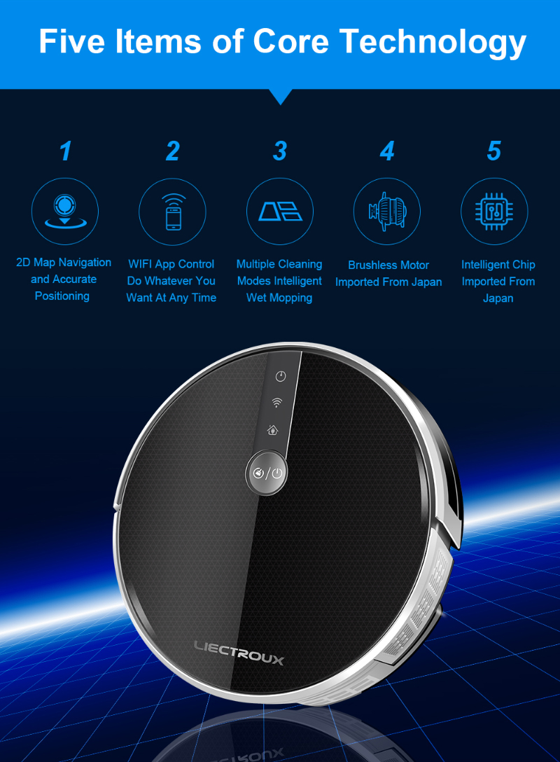 HTB1usCzasvrK1Rjy0Feq6ATmVXaP LIECTROUX C30B Robot Vacuum Cleaner,Map navigation,3000Pa Suction, ,Smart Memory, Map Display on Wifi APP, Electric Water tank