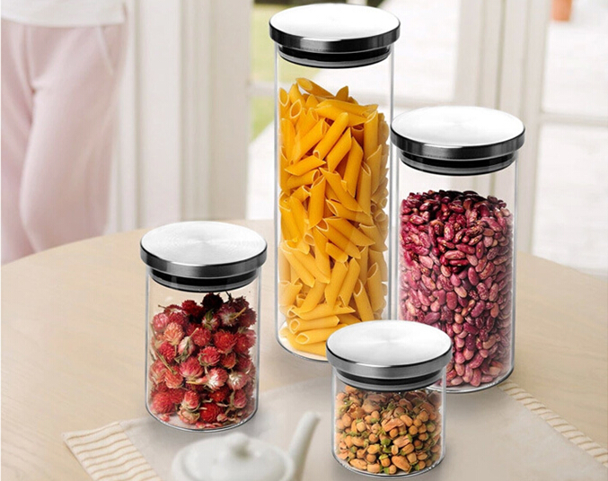 1PC Glass Sealed Storage Bottles For Spices Food Container Moisture-proof Kitchen Confectioner Cans JO 1049