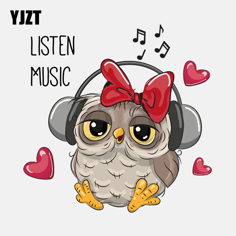 YJZT 15.3CM*15.2CM Owl Listening To Music PVC  High Quality Car Sticker 11-01319