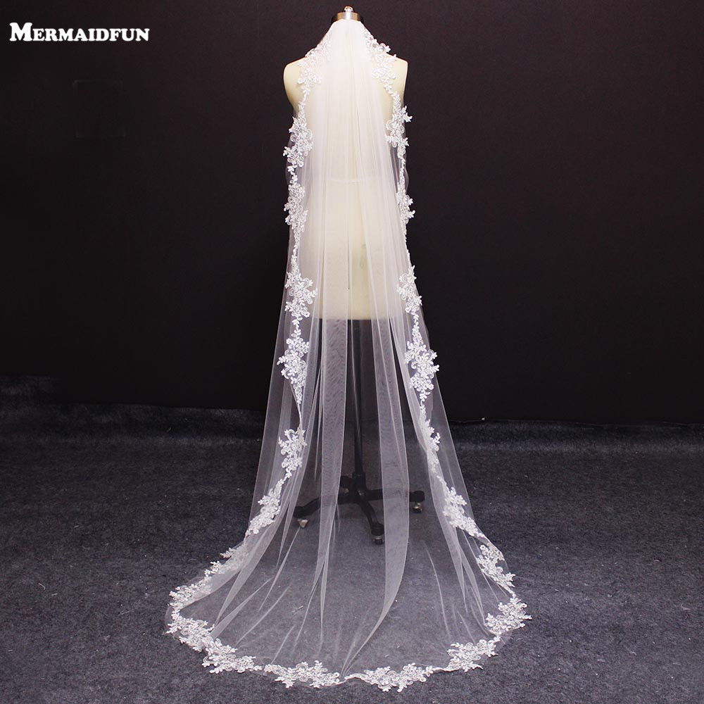 Wedding-Veil Comb Lace Beaded Appliques-Edge Chapel Sequined 2-Meters 1-Layer With Real-Photos