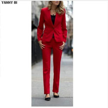 Fashionable women suits Red Women Ladies Business Office Tuxedos Custom Made Formal Work Wear New Suits(China)