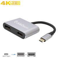 USB C HDMI DP cable type c to Displayport HDMI 4K 2 in 1 adapter for 2017 Macbook Pro Dell XPS