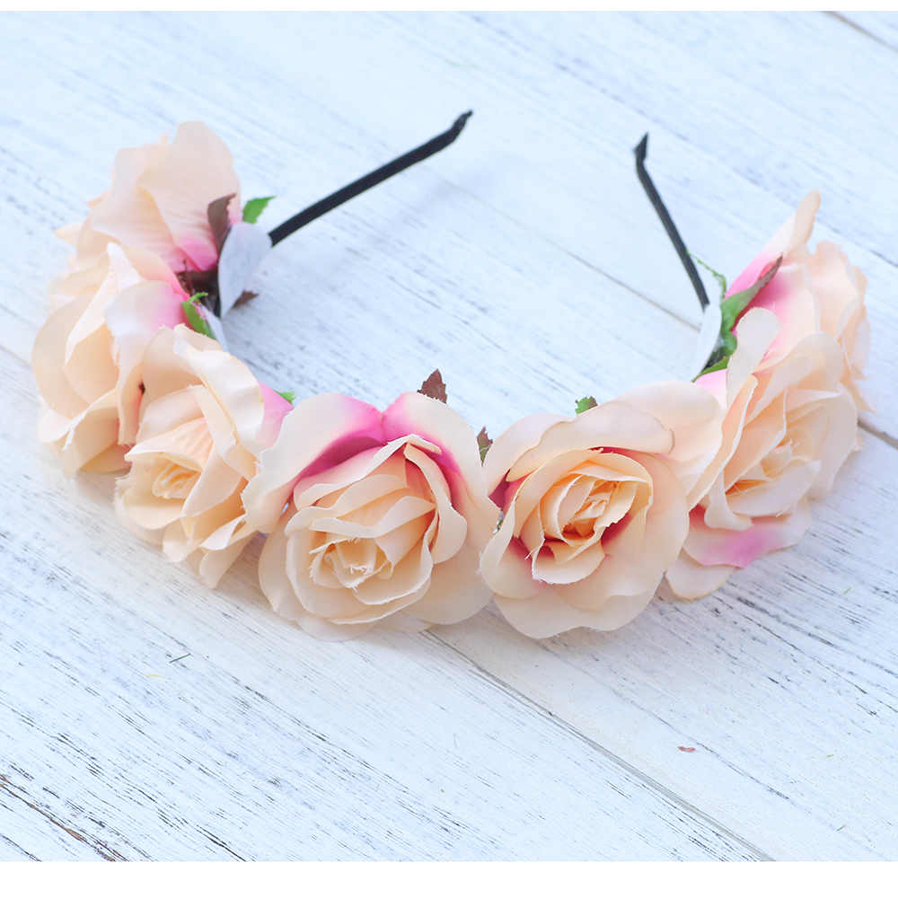 Fabric rose flower crowns wedding bridal bridesmaid flower wreath fabric rose flower crowns wedding bridal bridesmaid flower wreath hair accessory party girls garland girls princess crown in hair accessories from womens izmirmasajfo