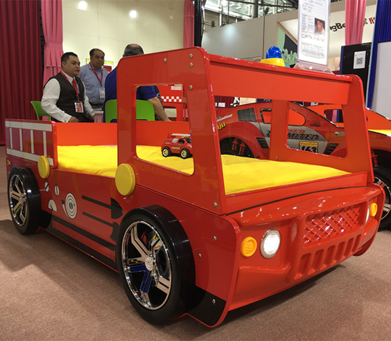 Высокое качество молодых Мебель для детской Маленький Мальчик девушка красный огонь полицейский автомобиль кровать