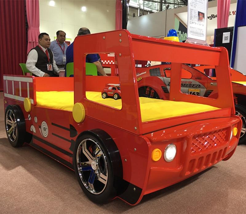 High Quality Young Children Furniture Little Boy Girl <font><b>Red</b></font> Fire Police Car <font><b>Bed</b></font>