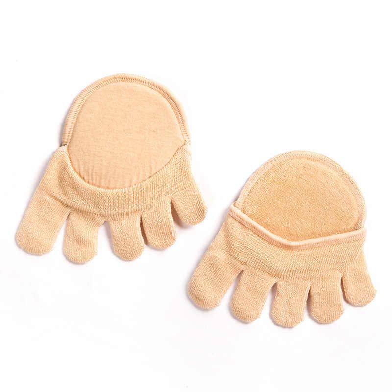 Для Женщин Половина пять пальцев носки колодки Силиконовые противоскользящие накладки невидимый мысок нешипованной лайнер хлопка стопы подушка для ног Pad c567