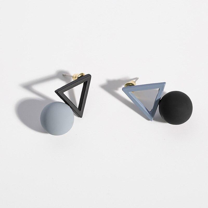 2017 Korean Simple Asymmetric Dangle Earrings For Women Colourful Ball Triangle Pendientes Mujer Moda