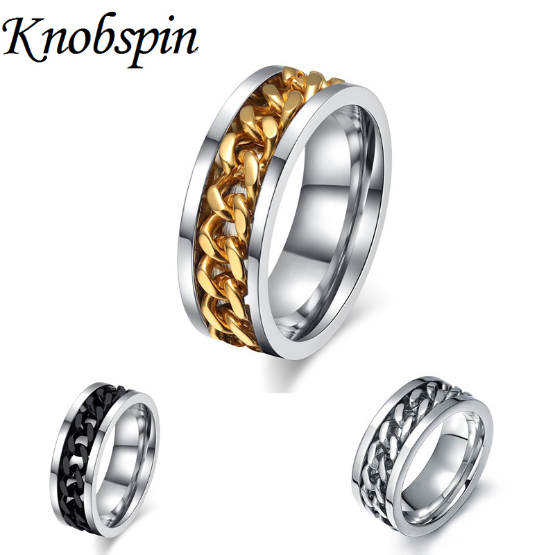us size 6 15 cool men ring persionality spin chain jewelry anniversary wedding band rings - Wedding Ring Price