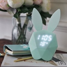 Cute Rabbit LED Night Light Bunny Digital Alarm Clock Sound Control Rechargeable Clock with Magnet can Hanging in the Wall