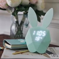 Cute Rabbit LED Night Light Bunny Digital Alarm Clock Sound Control Rechargeable Clock With Magnet Can