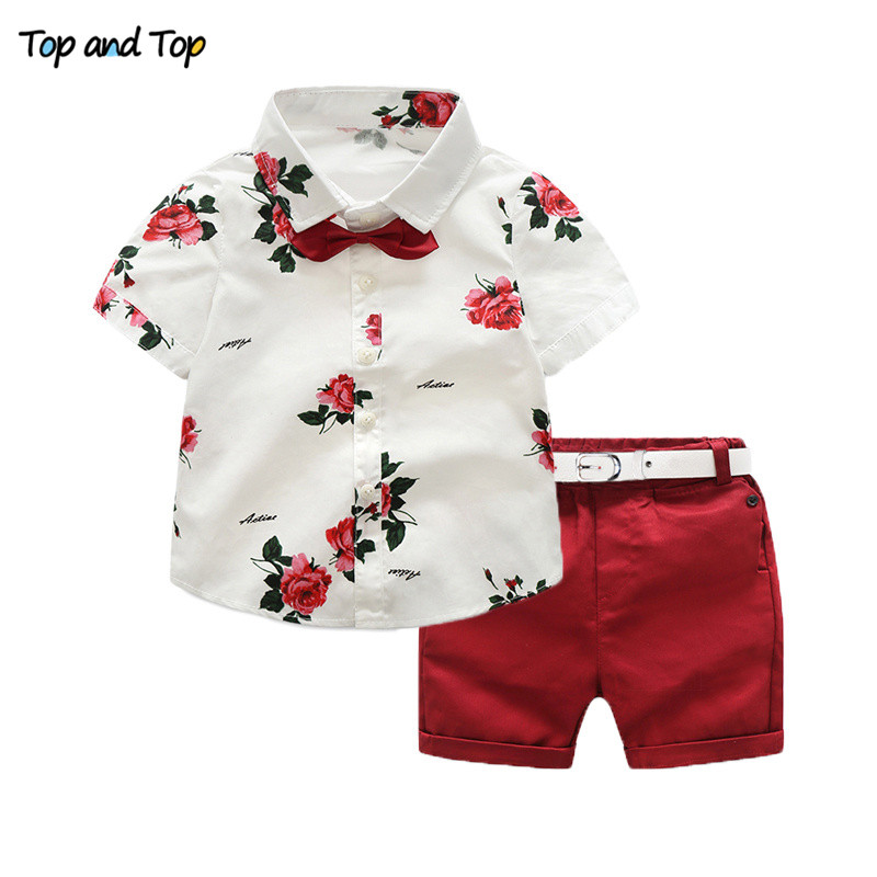 Top and Top Summer Boys Clothing Set Short Sleeve Bow Tie Printed Shirt+Belt Shorts Casual Boys Clothes Set Gentleman Suits knot front tie dye top with shorts
