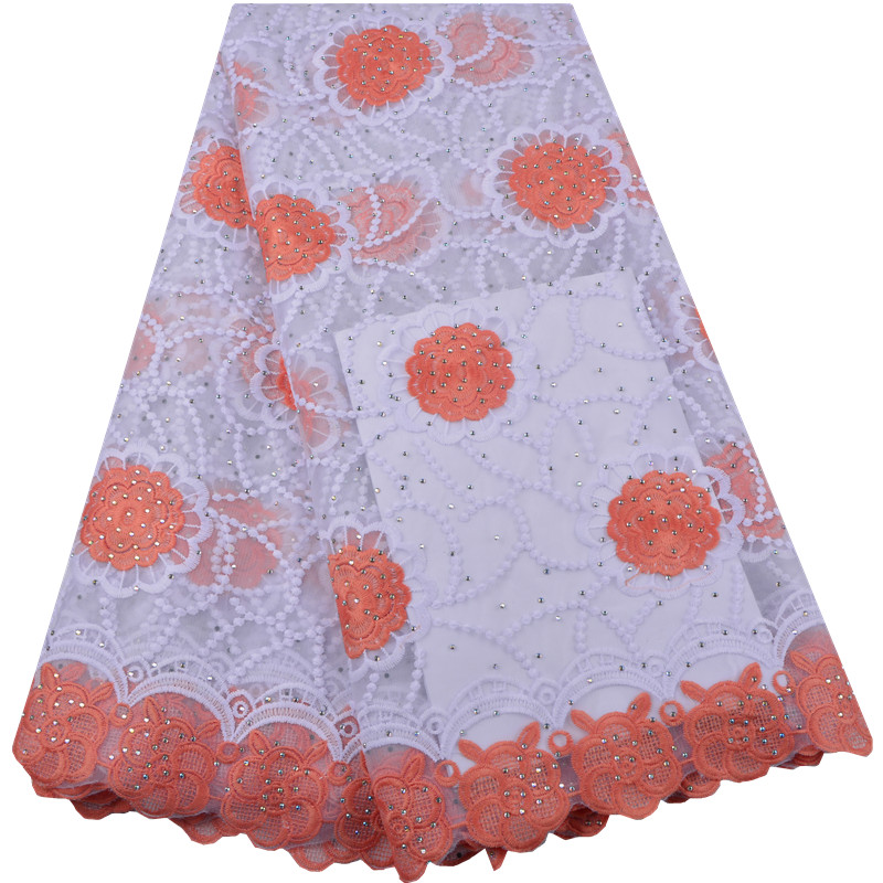 Best Quality African Lace Fabric Orange Swiss Voile Lace High Quality Emboridery French Mesh 2018 French