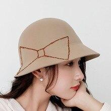 Новая мода Fedoras Женская мода джаз шляпа купол бабочка ручной sewd шерсть кепки открытый большой полями Повседневная шляпа