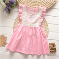 Y645226 Retail New 2015 Summer Girls Dresses Sleeveless Ruffles Girl Princess Dress Appliques Lace Lolita Girl Clothes