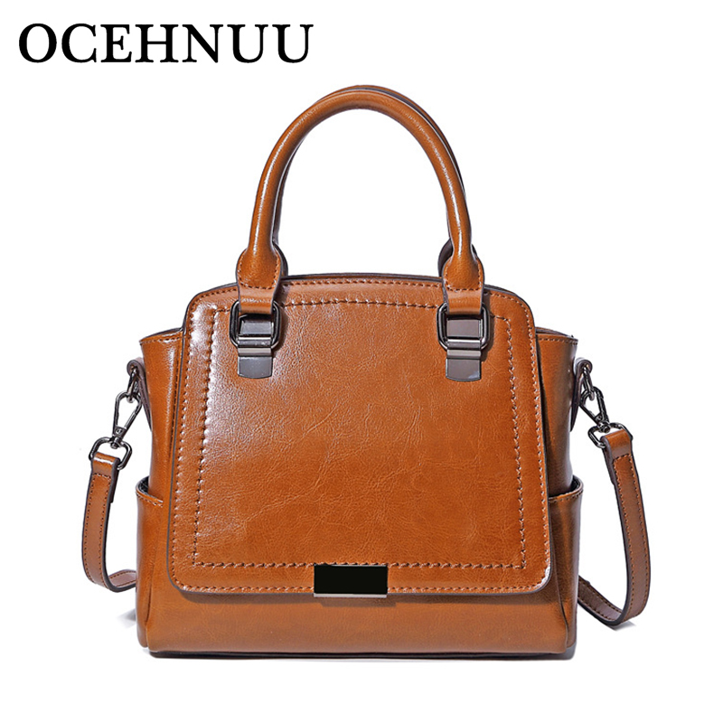 OCEHNUU Genuine Leather Handbags Women Bags 2018 Famous Brands Shoulder Bags For Women Leather High Quality Ladies Crossbody Bag luxury shoulder bag women famous brands small messenger bags for women pink bags ladies high quality genuine leather handbags