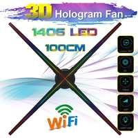Proyector holográfico 3D Wifi mejorado de 100 CM, reproductor de holograma, ventilador de pantalla LED, luz de publicidad, Control de aplicación con batería para exteriores